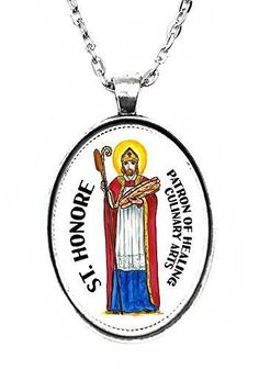 St Honore Patron of Healing Culinary Arts Huge 30x40mm Handmade Silver Plated Art Pendant