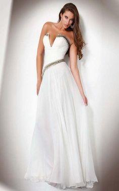 White Strapless Dress V-Cut Neckline Online Sale [White Strapless Dress] - $189.00 : Cheap Formal Dresses, Discounted Prom Dresses at DressesBarnCheap