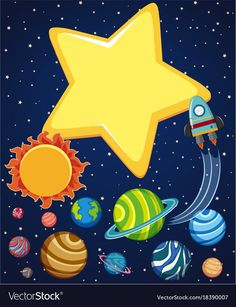Background scene with rocket and planets in space Vector Image Art For Kids, Crafts For Kids, Outer Space Party, Kids Background, Space Illustration, Halloween Drawings, Space Theme, Space Crafts, Classroom Decor