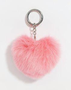 Image 1 of ASOS Valentines Heart Novelty Pom Keychain