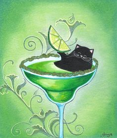 April Spring Art - Cat and Giant Margarita - Lime Green Funny Whimsical Cocktail Hour Wall Art