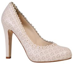 Klara leather court shoes with heart punch decorations