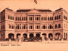 The famous Raffles Hotel in Singapore. I had a Singapore Sling there in 1983. The Hotel opened in 1899, when Singapore was under British Colonial rule. In 1942 the Japanese took Singapore, and took over the Hotel for their officers.