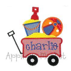 Machine Embroidery Design Applique Beach Wagon INSTANT DOWNLOAD.