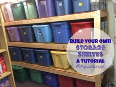 Build Your Own Storage Shelves - A lot of people use plastic bins to store their stuff, I do too. But with limited space, I had up to five bins stacked on top… Basement Storage Shelves, Garage Storage, Storage Shelving, Build Shelves, Plastic Storage Shelves, Corner Shelves, Joe's Garage, Ceiling Shelves, Utility Shelves