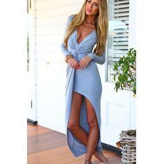 Sexy V Neck Long Sleeves Front Split Grey Sagine☀️
