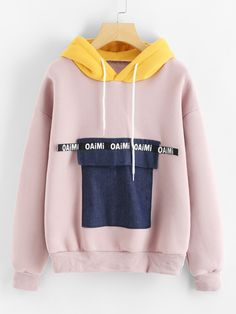 Shop Color Block Pocket Front Hoodie at ROMWE, discover more fashion styles online. Cute Fashion, Daily Fashion, Fashion Outfits, Winter Outfits, Casual Outfits, Cute Outfits, Style Feminin, Moda Outfits, Stylish Hoodies