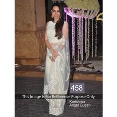 Net Thread Work Off-White Bollywood Style Saree - 458