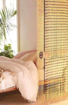 Bamboo Beaded Curtains, Beaded Door Curtains, Curtain Door, Bohemian Bedroom Decor, Bohemian Style Bedrooms, Bohemian Living, Custom Drapes, Home Fashion, Modern Bedroom
