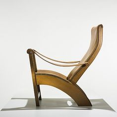 MOGENS VOLTELEN / Copenhagen Chair / Denmark, 1936 / oak, leather, brass-plated steel rivets