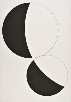 c. 1952 'Constellation Black and White' by; Leon Polk Smith (Native American 1909 - 1996)
