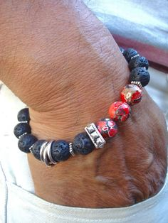 Men's Spiritual Healing, Courage, Patience Bracelet with Semi Precious Red Howlite, Lava, Bali Beads, Carved Wood - Bohemian Man Bracelet by tocijewelry on Etsy