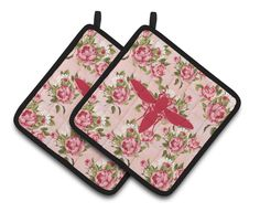 Yellow Jacket Shabby Chic Pink Roses Pair of Pot Holders BB1053-RS-PK-PTHD