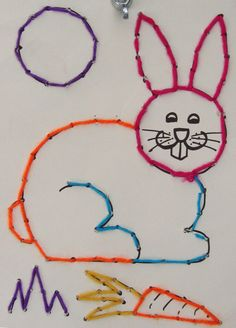 Lots of applications - r for rabbit but this is great for fine motor skills too. Sewing Patterns For Kids, Sewing Projects For Kids, Sewing For Kids, Diy For Kids, Sewing Crafts, Art Auction Projects, Easter Arts And Crafts, Montessori Art, Cardboard Box Crafts