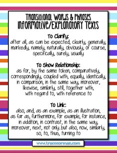 Informative/Explanatory Transition Words and Phrases - Common Core Aligned Expository Writing, Informational Writing, Essay Writing, Writing Workshop, Informative Writing, Writing Process, Writing Posters, Paragraph Writing, Wall Posters