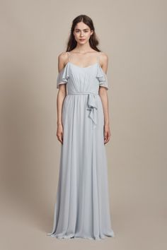 Pam - SLATE  Long Bridesmaid Dress: Long Flat Chiffon, Ice Color