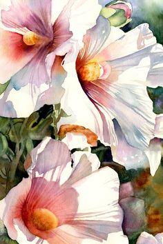 Hollyhocks, watercolor by Paula Wadsworth