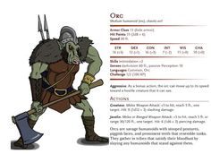 """The orc is perhaps the most iconic of all the fantasy humanoid races in D&D, and while they can trace their origins back to old English and Anglo-Saxon sources, the orc as it is known in D&D and other role playing games, definitively take their inspiration from the orcs of J.R.R. Tolkien.  In the D&D Basic bestiary however, they're described as having """"stooped postures, piggish faces, and prominent teeth that resemble tusks"""", so the one depicted here gets to look quite the pig."""