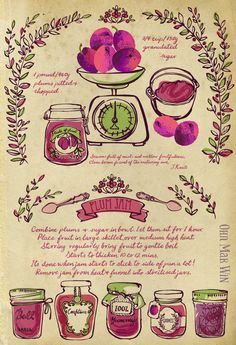 Plum Jam Recipe vintage scales fruit jam jars decorative. They Draw and Cook Ohn Mar Win