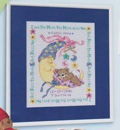 Mr Moon and Me Birth Sampler - Cross Stitch Kit