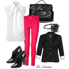 Hot Pink Pants!, created by divineleonine on Polyvore