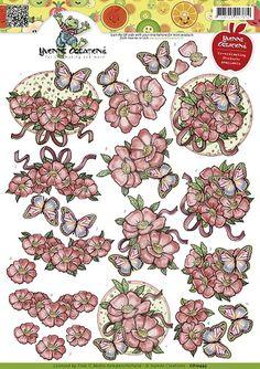 3D Knipvel - Yvonne Creations - Opkikker vlinders