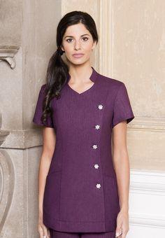 Purple Linen Beauty + Spa Tunic by Diamond Designs Ireland Salon Uniform, Spa Uniform, Scrubs Uniform, Beauty Tunics, Salon Wear, Kurti With Jeans, Beauty Uniforms, Medical Uniforms, Kurti Neck Designs