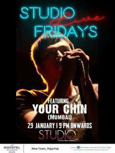 Your Chin performs live tomorrow at Studio from 9 pm onwards during Studio Live Fridays! Happy Hours from 6 pm onwards!!