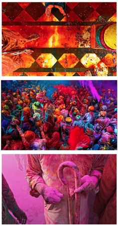 Attend and take part in the Holi color festival in India.