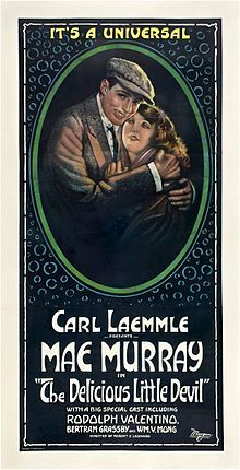 Theatrical poster for The Delicious Little Devil a 1919 American silent comedy-drama film starring Mae Murray and Rudolph Valentino.