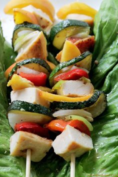 {Asian} Honey-Mustard Teriyaki Chicken and Peach Kabobs @Kate Petrovska | Diethood