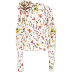 Cassie Floral Jacket Top | Moda Operandi (20.263.515 VND) ❤ liked on Polyvore featuring tops, white fitted top, sleeve top, v neck tops, floral tops and white top