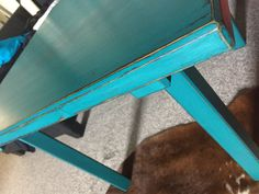 Chalk paint. AnnieSloan and Vintro. Waxed, distressed. Teal and granite