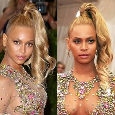 "Trending Hairstyle: ""Trend Setter"" Beyonce in top-knot wrap around side ponytail at the Met Gala 2015."