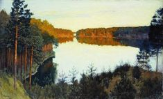 """Forest lake"", Oil On Canvas by Isaac Levitan (1860-1900, Lithuania)"