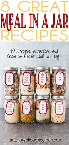 Give the gift of delicious food storage this holiday season! Each jar makes enough food for at least 6 servings! They are shelf-stable and can be stored for years! No more boring food storage, or wond Mason Jar Meals, Meals In A Jar, Mason Jar Recipes, Make Ahead Meals, Freezer Meals, Frugal Meals, Quick Meals, Soup In A Jar, Dry Food Storage