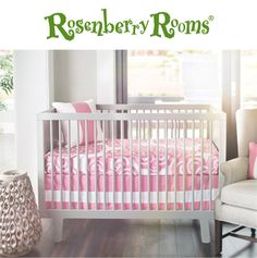 Create a modern nursery with the Bloom 2-Piece Crib Bedding Set in Petal Pink from Oilo.  This stylish crib bedding set features a bold pattern in pink and white