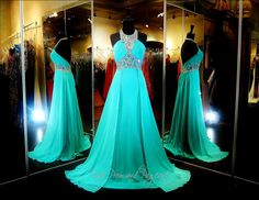 This gorgeous A-line prom or pageant dress has a high neckline with sparkling…
