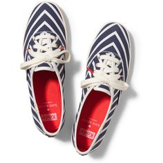 Keds x kate spade new york Champion Mariner Stripe (925 MXN) ❤ liked on Polyvore featuring shoes, sneakers, keds, zapatos, tennis shoes, navy mariner stripe, navy blue shoes, keds shoes and striped shoes