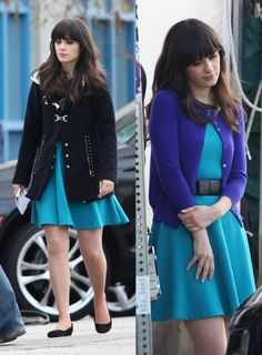 Zooey Deschanel's Turquoise blue dress with black bow belt on New Girl.  Outfit details: http://wwzdw.com/z/1884/