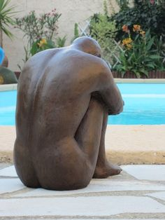 l'homme assis sculpture argile 2013.nouveausculpteur