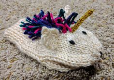 Children's Animal Mittens 2 by KidsKnitHatsNCrafts on Etsy unicorn mitten! Lovely hand knit.