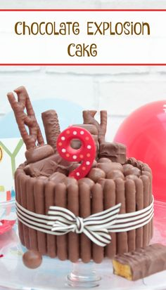 If you are looking for the perfect Birthday cake for a chocolate lover then this easy to make chocolate explosion cake is the answer. Chocolate sponge is sandwiched together with chocolate frosting. It is cover with chocolate fingers and topped with Malteasers, fudge, caranel, milky way and curly wurlys