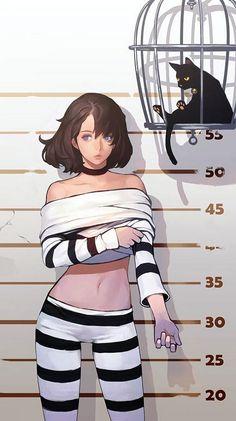 Anime girl with prisoner clothes Girls Characters, Female Characters, Anime Characters, Manga Girl, Anime Art Girl, Manga Anime, Anime Girls, Female Character Design, Character Art