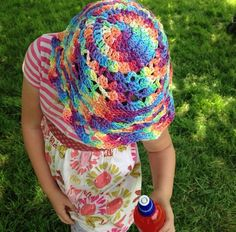 Rainbow crochet hat. Handdyed yarn by Thee Violet Buttons