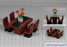 Details about LEGO - Formal Dining Table w/ 4 Chairs & Flowers Minifigure Home Room Furniture - Lego ideen - Lego Modular, Lego Design, Legos, Lego Kitchen, Casa Lego, Lego Furniture, Furniture Chairs, Formal Dining Tables, Dining Chairs