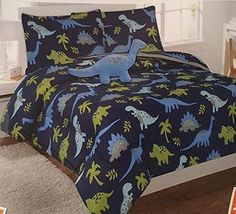 6pc-Dinosaur-Twin-Sized-Boys-Comforter-Set-Bed-in-a-Bag-Bedding-Sheet-Set