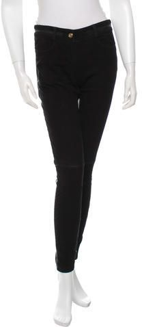 Givenchy Suede Skinny-Leg Pants Suede Pants, Women Pants, Skinny Legs, Black Pants, Givenchy, Stylish, Jeans, Leather, Tops
