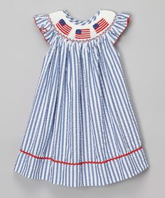 Loving this Emily Lacey Blue Stripe Flag Smocked Dress - Infant & Toddler on #zulily! #zulilyfinds