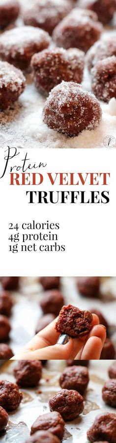 These truffles were DELICIOUS and the red velvet is very festive. I love that they're such a healthy, portable source of protein. They also have an AWESOME protein to calorie ratio with of protein for only 24 calories! A must pin treat! Protein Ball, Protein Snacks, High Protein, Protein Muffins, Protein Cookies, Healthy Desserts, Dessert Recipes, Healthy Food, Healthy Eating